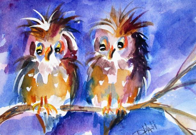 Art: two Chubby Owls by Artist Delilah Smith