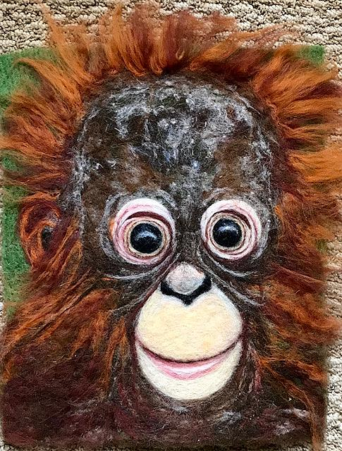 Art: Needle felted Wool Painting - Orangutan Baby by Artist Ulrike 'Ricky' Martin
