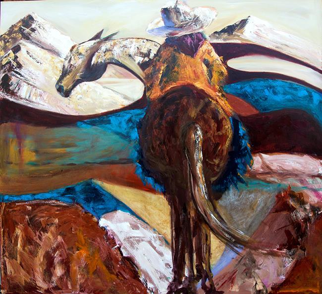 Art: Cowgirl on Horseback by Artist Diane M Whitehead