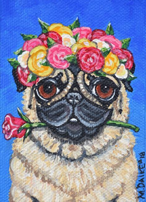 Art: Fawn Pug & Roses by Artist Melinda Dalke