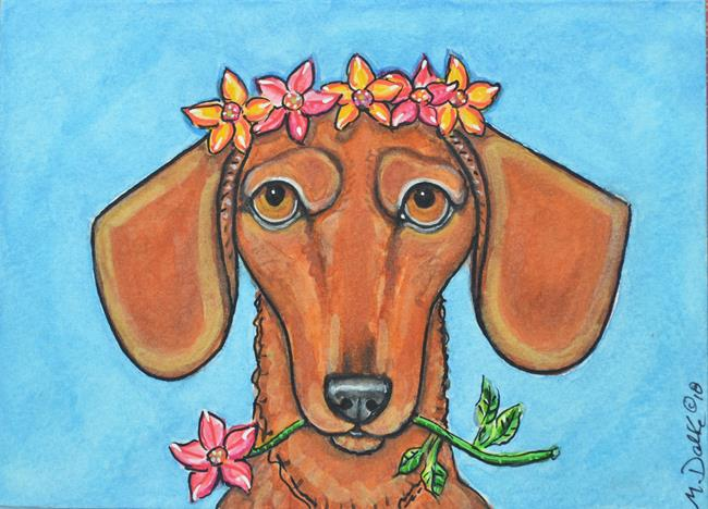 Art: Flowers and Dachshund Card by Artist Melinda Dalke