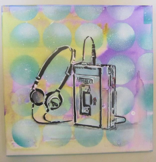 Art: 80's Walkman Retro Original Graffiti Spray Paint Pop Art by Artist Paul Lake, Lucky Studios