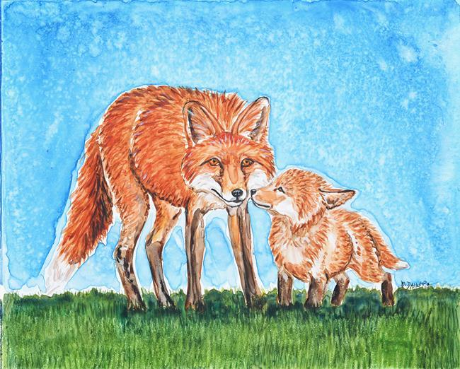 Art: Fox & Cub by Artist Melinda Dalke