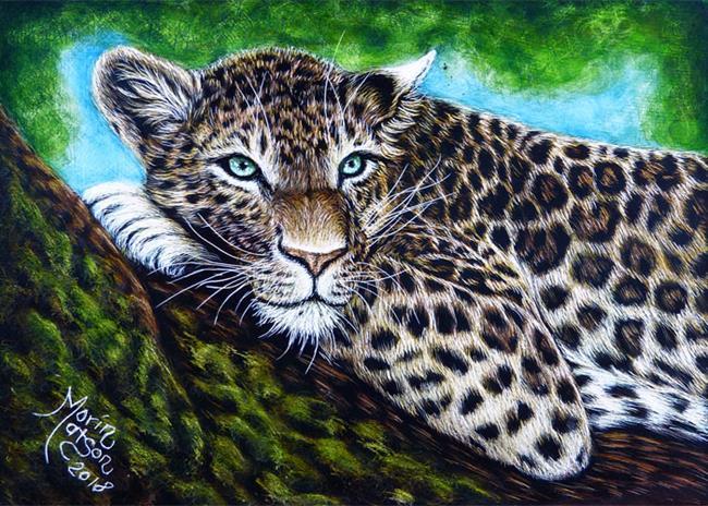 Art: Leopard  (SOLD) by Artist Monique Morin Matson