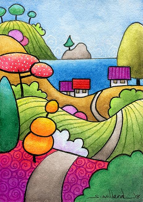 Art: Seaside Cottages by Artist Sandra Willard