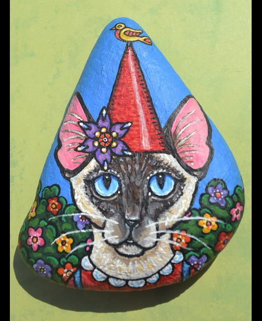 Art: Catty Gnome & Bird by Artist Melinda Dalke