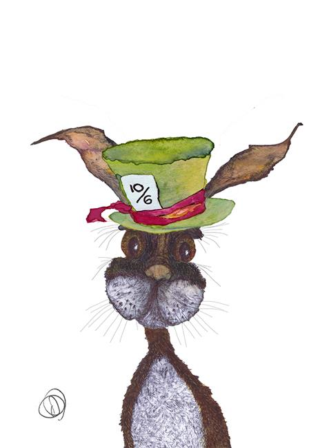 Art: HARE HATTER h3401 by Artist Dawn Barker