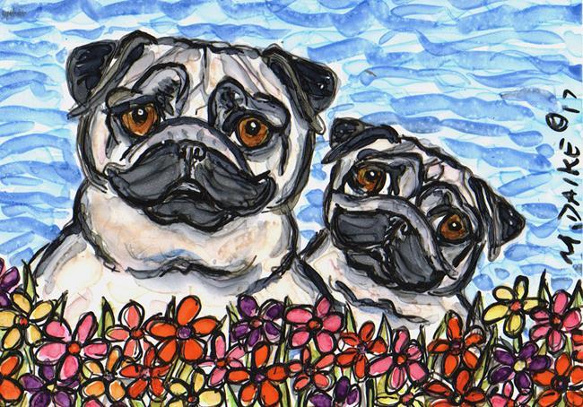 Art: Pugs & Daisies by Artist Melinda Dalke