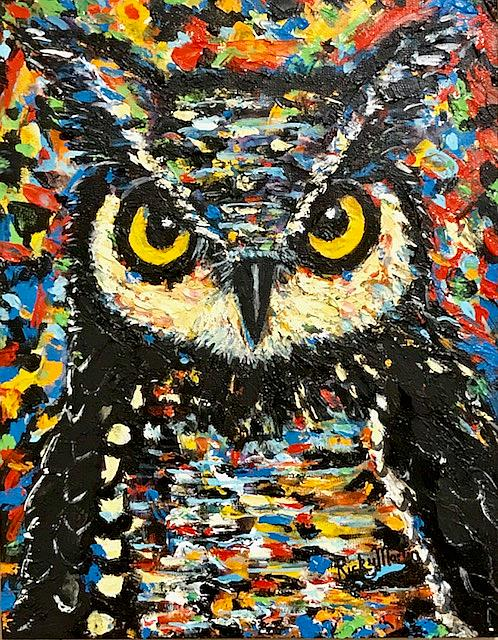 Art: Owl Impasto Palette Knife Painting by Artist Ulrike 'Ricky' Martin