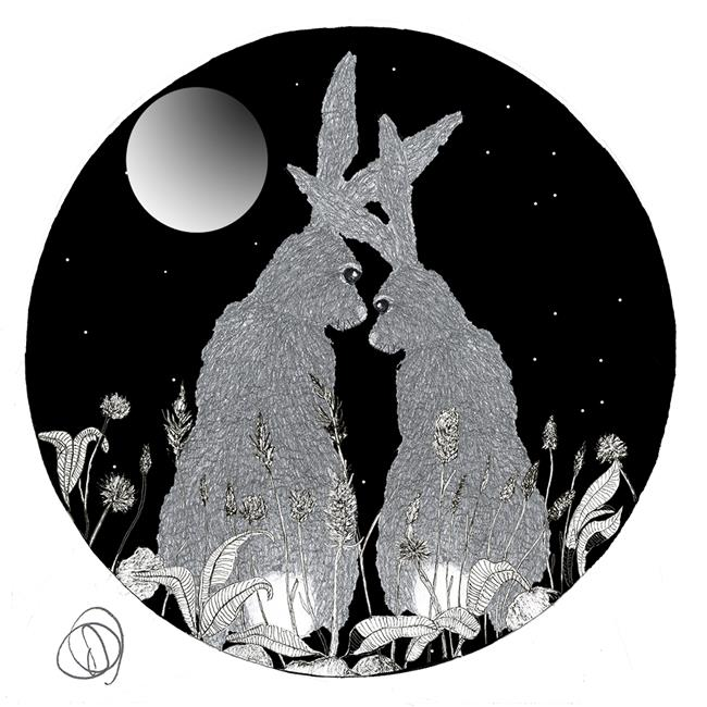 Art: HARES IN LOVE - hc101 by Artist Dawn Barker