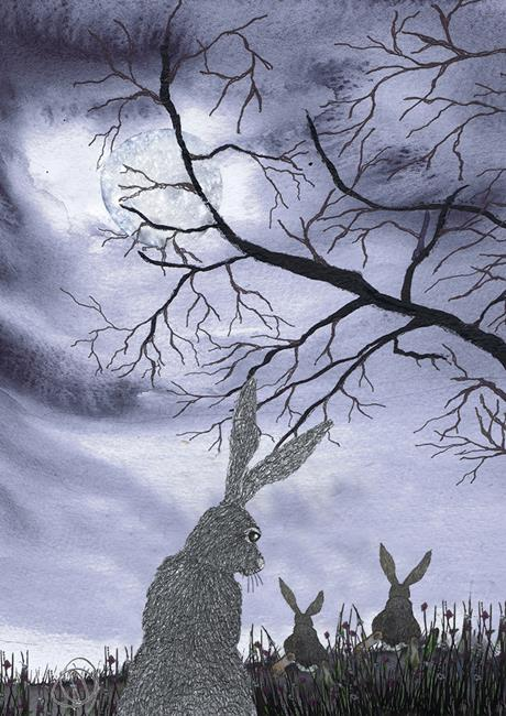 Art: HARE WATCH h567 by Artist Dawn Barker