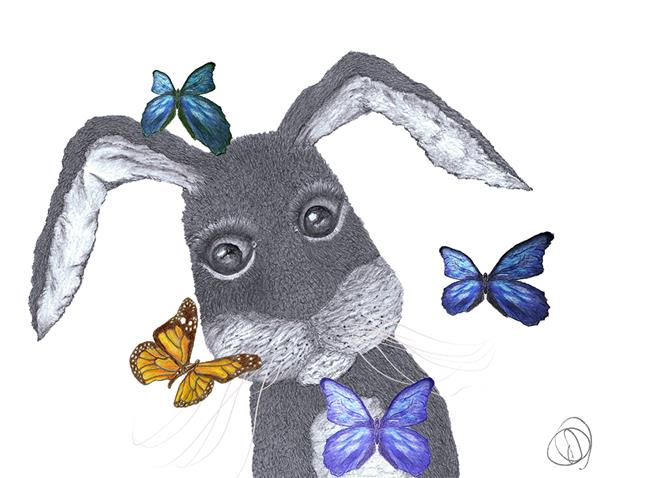 Art: HARE & BUTTERFLIES h3498 by Artist Dawn Barker