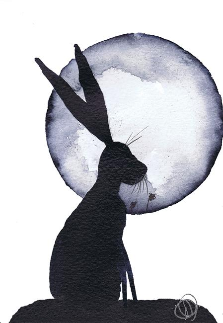 Art: MOONLIGHT HARE h3079 by Artist Dawn Barker