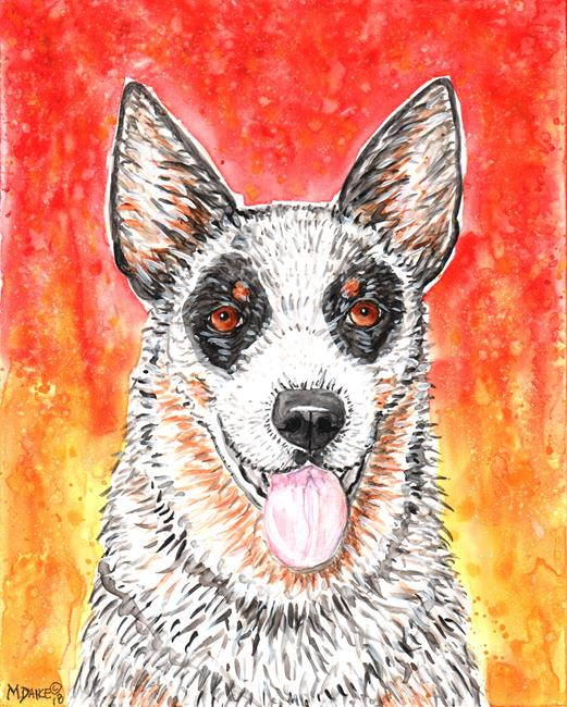 Art: Sunset Australian Cattle Dog by Artist Melinda Dalke