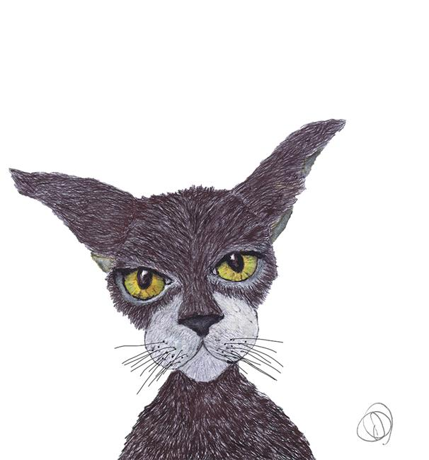 Art: YELLOW EYES c546 cat by Artist Dawn Barker