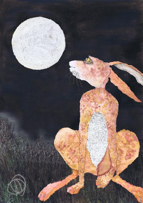 Art: MOONGAZING HARE h3340 by Artist Dawn Barker