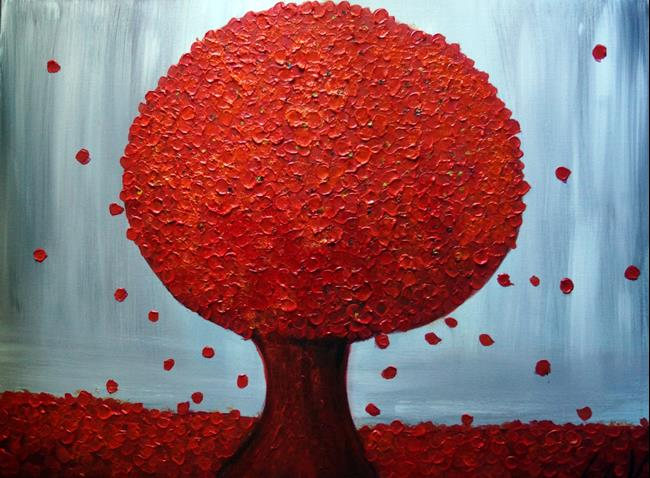 Art: The Red Tree by Artist LUIZA VIZOLI