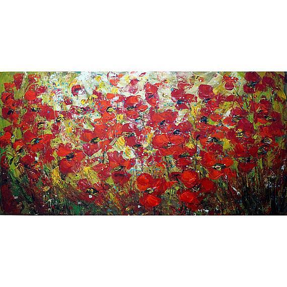 Art: RED POPPY FLOWERS by Artist LUIZA VIZOLI