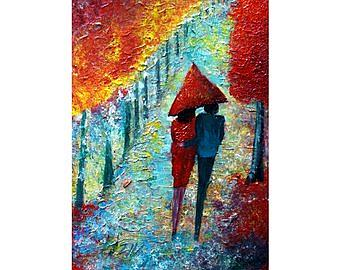 Art: Red Umbrella Romance by Artist LUIZA VIZOLI