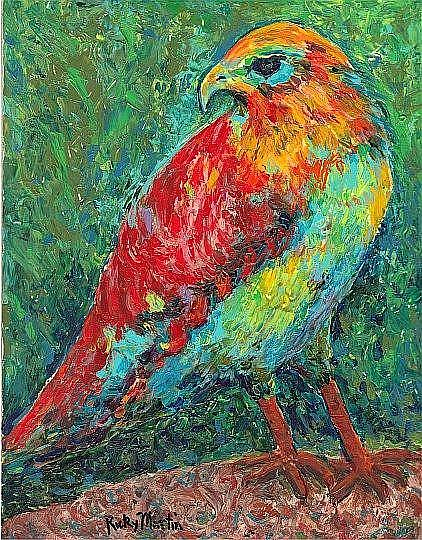 Art: Falcon on a Rock  - SOLD by Artist Ulrike 'Ricky' Martin