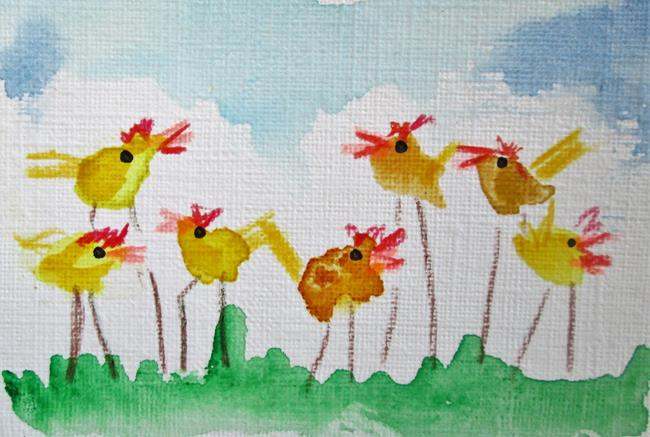Art: Yellow birds by Artist Delilah Smith