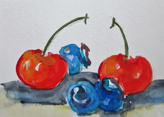 Art: Blueberries and CHerries by Artist Delilah Smith