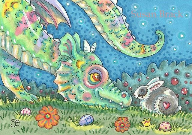 Art: RAINBOW EASTER DRAGON by Artist Susan Brack