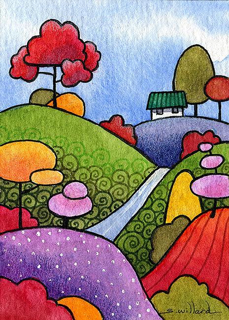 Art: Cottage by the Creek by Artist Sandra Willard