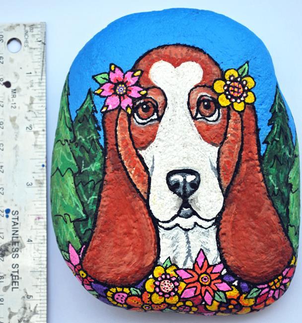 Art: Floral Basset by Artist Melinda Dalke