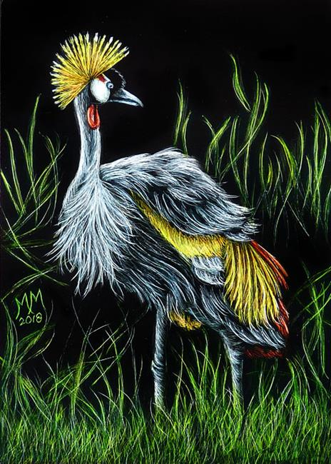 Art: African Crowned Crane  (SOLD) by Artist Monique Morin Matson