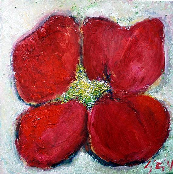Art: PINK RED WHITE CHERRY FLOWER by Artist LUIZA VIZOLI