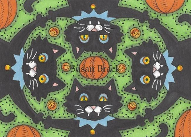 Art: BLACK CAT JAMBOREE Halloween by Artist Susan Brack