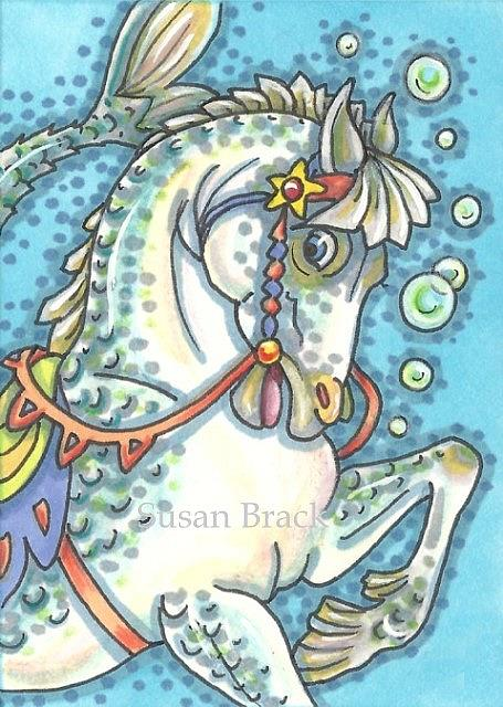 Art: CAROUSEL MERHORSE by Artist Susan Brack