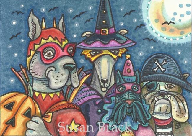 Art: HALLOWEEN HOUNDS by Artist Susan Brack