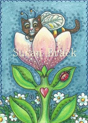 Art: BUMBLECATS ARE PURRRFECT POLLINATORS by Artist Susan Brack