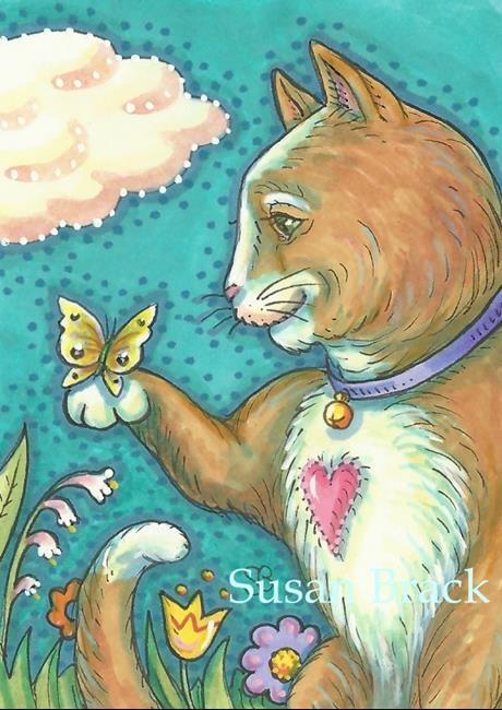 Art: BUTTERFLY SMILE Cat by Artist Susan Brack