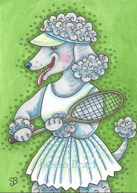 Art: POODLE ON THE COURT by Artist Susan Brack