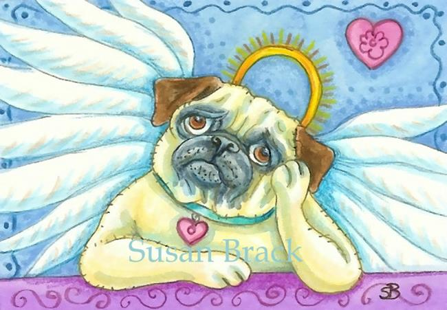 Art: PUG CHERUB by Artist Susan Brack