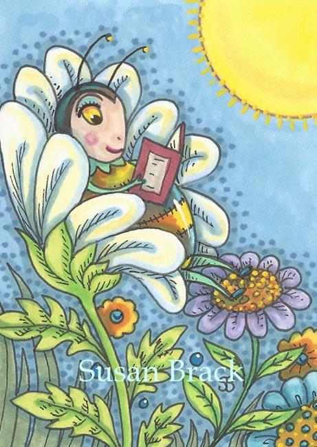 Art: BEE SMART READ A BOOK by Artist Susan Brack