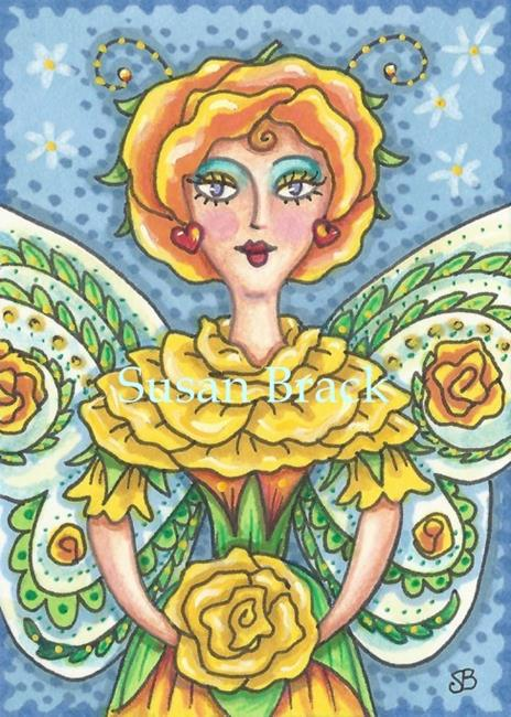 Art: BLOOMS OF A YELLOW ROSE FAIRY by Artist Susan Brack