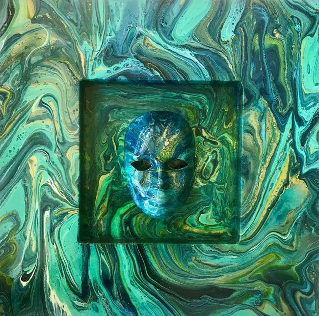 Art: Poured Abstract with Mask - SOLD by Artist Ulrike 'Ricky' Martin