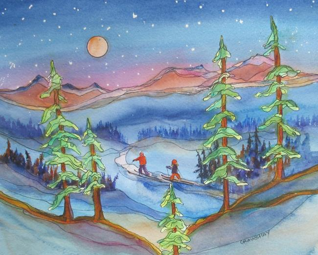 Art: Ski Buddies (sold) by Artist Kathy Crawshay