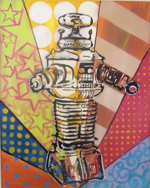 Art: Graffiti Pop Art Robbie the Robot by Artist Paul Lake, Lucky Studios