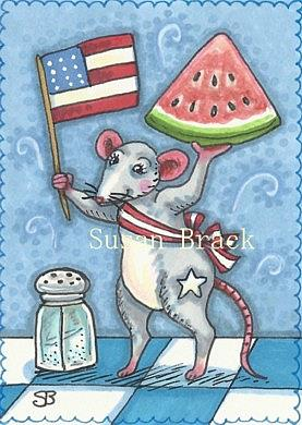 Art: GOD BLESS AMERICA AND WATERMELON by Artist Susan Brack
