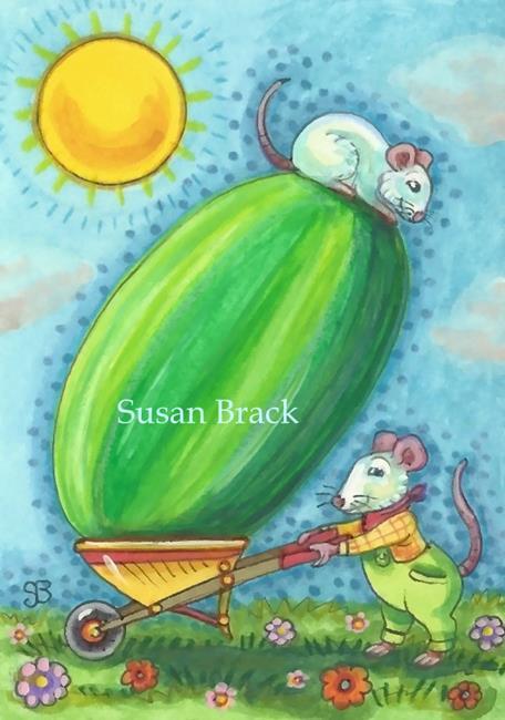 Art: BEST WAY TO MOVE A MELON by Artist Susan Brack