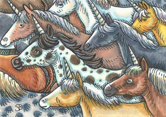 Art: UNICORN ROUND UP by Artist Susan Brack