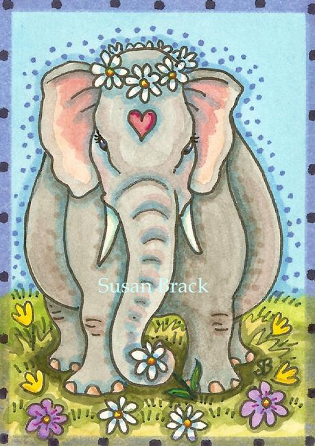 Art: DAISY  Elephant by Artist Susan Brack