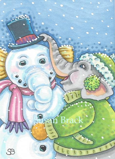 Art: SNOW ELEPHANT Winter by Artist Susan Brack