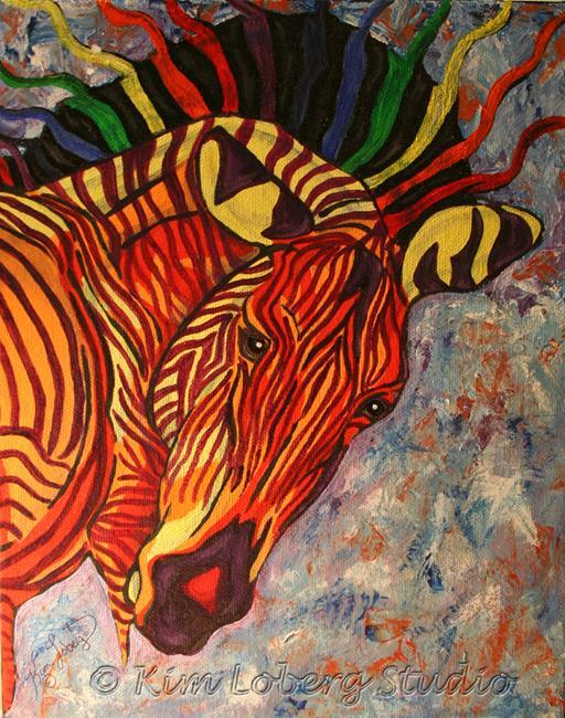 Art: Birth of Celestial Zebra by Artist Kim Loberg