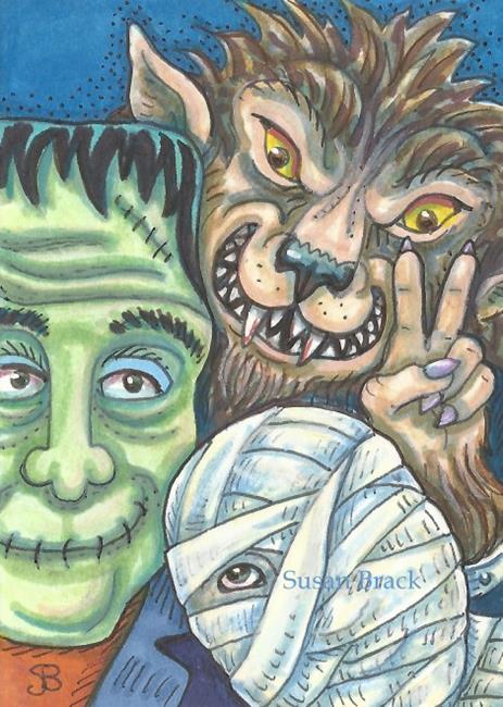Art: HALLOWEEN SELFIE by Artist Susan Brack
